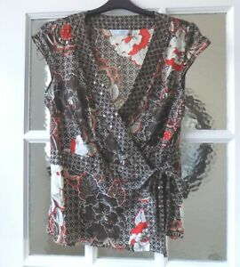 NEW LOOK Brown & Red Wrap around Short Sleeve Top, Size 12