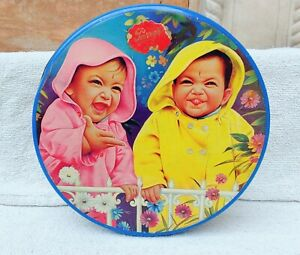 1950s Vintage Rare Parry Confectionery 2 Baby Laughing Advertising Tin For Kids