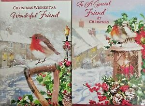 FRIEND CHRISTMAS CARD  ~ CHOICE OF 2 ROBIN DESIGNS ~ QUALITY CARD NICE VERSE
