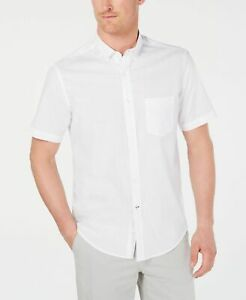 Nwt $97 Club Room Men Regular-Fit White Cotton Short-Sleeve Button Dress Shirt L