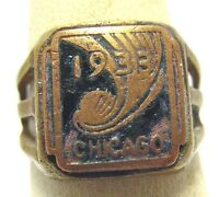 1933 CHICAGO WORLDS FAIR ENAMEL ADJUSTABLE RING BRASS TONED SYBOLL