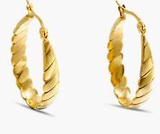 Gold Twist 30MM Oval Hoop Earrings Luxurious Stainless Steel Jewellery GIFT BOX