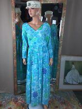 VTG Mary Martin Florida SIZE 14 Blue Flower Power Floral Maxi Dress