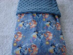Bluey Reversible Blue Minky Handmade Blanket