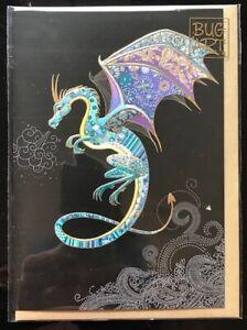 """Bug Art Greetings Card: """"Blue Dragon"""" -  Stunning design - FREE UK p/p"""