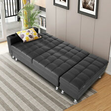 Faux Leather Ottoman Sofa Bed Settee With Storage & Cup Holder Recliner In Black