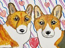 Dog Valentine Art Print 4x6 Corgi Collectible Signed Artist Ksams Pembroke Welsh