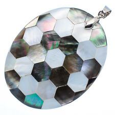 """Mother of Pearl Natural Abalone Sea Shell Oval Pendant 2"""" Jewelry #27-Z"""