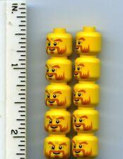 LEGO x 10 Yellow Minifig, Head Beard Dark Orange, Bushy Eyebrows, Goatee Castle