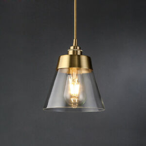 Minimal Glass Cone Shade LED Brass Ceiling Pendant Lights Kitchen Fixtures Loft