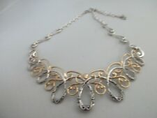 CAROLYN POLLACK STERLING & BRASS STATEMENT SWIRL NECKLACE BOX & PAPERS