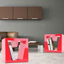 Lot de 2 chambres à coucher Diviseur chevet salle de stockage étagère MDF rouge