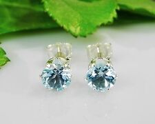 Genuine Sky Blue Topaz Round Sterling Silver Earrings (Free Shipping)