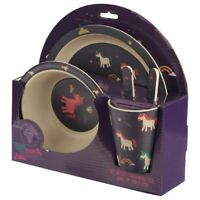 Purple Unicorn Bamboo 5 Piece Childrens Dinner Plate Bowl Cup Cutlery Set