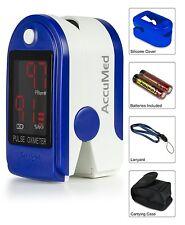 AccuMed Pulse Oximeter Sp02 Blood Monitor-Wrist Cord-Bag-Batteries FDA CE - BLUE