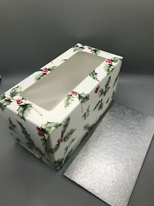 Christmas Yule Log Box and board 8x4x4 inch new vintage holly design 10 PACK