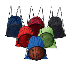 Unisex Fitness Work Out Sports College Draw String Basketball Ball Backpack 2477