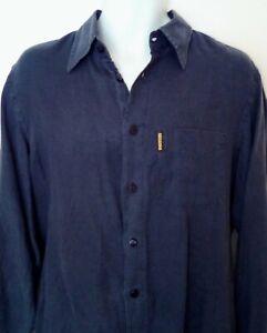 "Armani Shirt Medium Eco Wash Linen Grey Casual Vintage Style Shirt 44"" Chest"