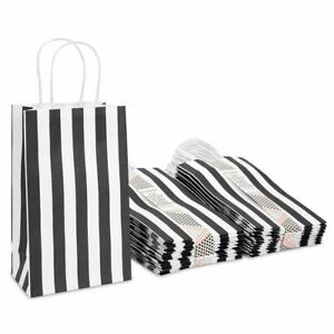 Black Striped Party Favor Paper Gift Bags with Handles for Birthday (50 Pack)