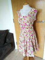 Ladies HANDMADE Dress Size 20 Pink Yellow Fit And Flare Party Evening Wedding
