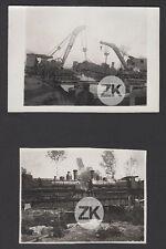 WWI GRANDE GUERRE LOCOMOTIVE Chemin de fer TRAIN Pont Somme 2 Photos 1914-1918