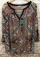Daniel Rainn women 1X peasant boho blouse top shirt vneck henley tab 3/4 slv  Z1