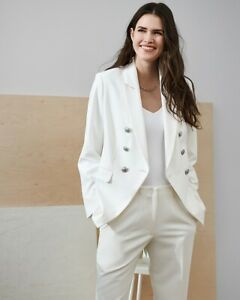 NEW EXPRESS WHITE SUPERSOFT TWILL DOUBLE BREASTED NOVELTY BUTTON BLAZER SZ L