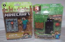 "Minecraft Overworld Enderman & 3"" Steve with Minecart Figures Series 1 & 3 BNIB"