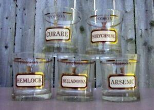 "Set of 5  Cora Cera "" Name Your Poison""  Apothecary Style Bar Glasses 22K Triim"
