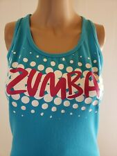 Zumba Women's Workout Racer Back Top Blue White and Pink Accents Size Medium