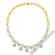 FINE 18K Two Tone Gold 4.70ctw Diamond Cluster Fringe Collar Statement Necklace