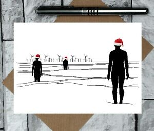 Christmas Card - Liverpool card - Anthony Gormley joke Christmas card - iron men
