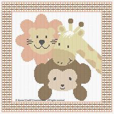 """ZOO LION/MONKEY/GIRAFFE Counted Cross Stitch Pattern Chart (10"""" x 10"""") *EASY*"""