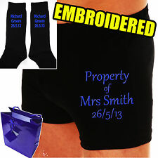 "PERSONALISED GROOM WEDDING DAY BOXER SHORTS & SOCKS  ""THE  PROPERTY OF.?"""