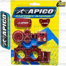 Apico Bling Pack Red Blocks Caps Plugs Nuts Clamp Covers For Honda CRF 450R 2004