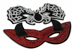 Halloween SEQUINED EYE MASK Masquerade Ball Devil Sexy Fancy Dress Costume New