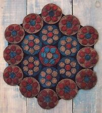 Primitive Wool Applique Penny Rug Pattern Traditional Colonial Pennies *New*