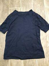 Ralph Lauren Jeans Women Top Blouse Navy Size XS Lace Short Sleeves Crewneck