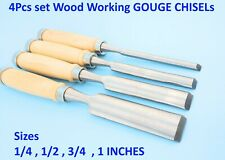 "4pc 1/4 1/2 3/4 1"" Wood Carving Lathe Gouge Chisel Kit Turning Tools Woodworking"