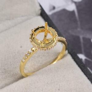 Sterling Silver 6 mm Round Semi Mount Ring Engagement Ring Gold Rhodium Plating