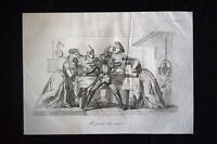 Incisione d'allegoria e satira Roma, Austria, Francia, Spagna Don Pirlone 1851