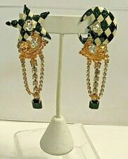 Vintage LUNCH AT THE RITZ   STAR & MOON Rhinestones Pierced Earrings 3 1/2''
