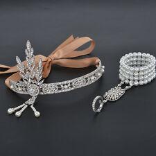 Gatsby 1920's Flapper Crystal Pearl Headpiece Headband Bracelet Ring Set Silver