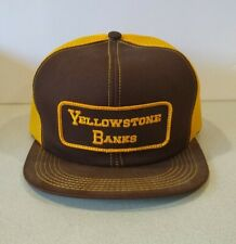 Rare Vintage K Products Yellowstone Banks Mesh Snapback Trucker Hat cap w/ patch
