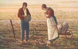 The Angelus by Millet FOUR postcards of painting showing variations. All c.1910