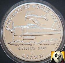 1995 la Isla de Man 1 uno corona Mitsubishi Zero la Segunda Guerra Mundial Aeronave moneda de plata prueba