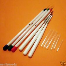 6 Nail Art Brushes White for Detailing Painting Drawing Nail Fine Line Brushes