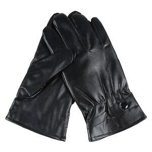 Men Women Winter Gloves Touch Screen Waterproof Windproof Leather Thick Bla*W