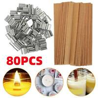 80PCS DIY Wooden Candle Wicks Core Sustainer Making Supplies Kit With Stand Set