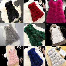 Jacket Coat Warm Gilet Outwear Vest Faux Fox Fur  Women's Waistcoat 9 *Colours